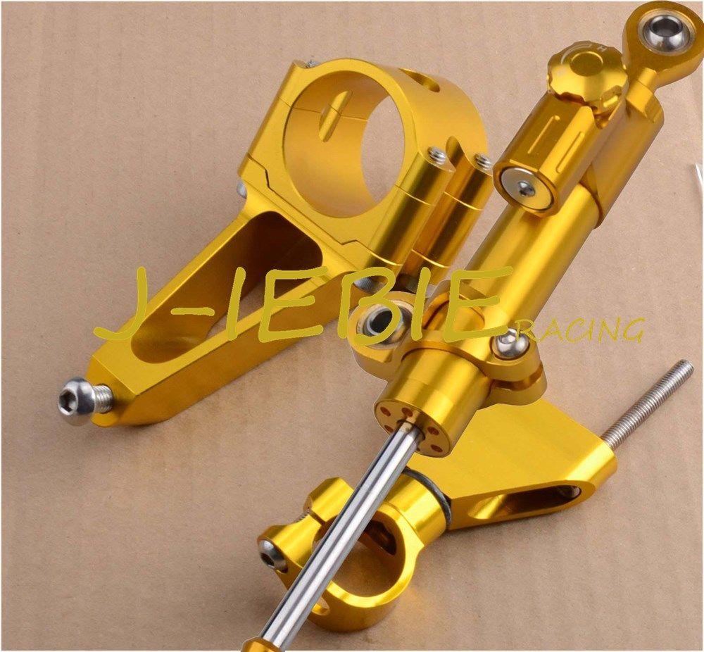 Cnc Steering Damper Stabilizer And Gold Bracket Mounting For Honda
