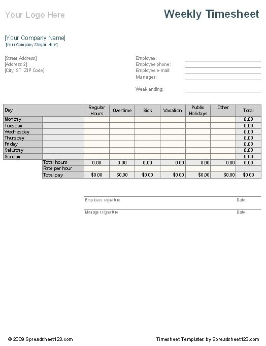 Marvelous Weekly Time Sheet Template. Invoice ... Intended For Weekly Invoice Template