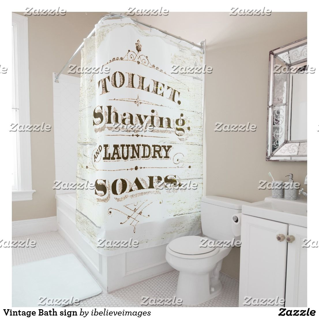 Vintage Bath Sign Shower Curtain