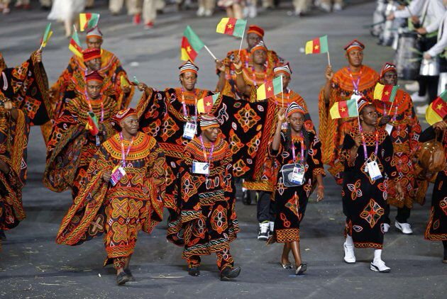 Cameroonian delegation at the Olympics Games in the traditional Atogho outfit from the North West region.