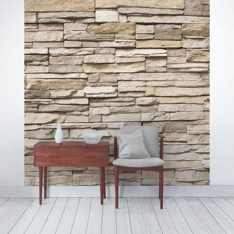 Steintapete - Vliestapete Asian Stonewall - Steinmauer aus großen - steintapete beige wohnzimmer