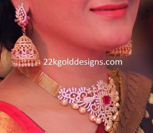necklace jewels diamond south choker veena big india