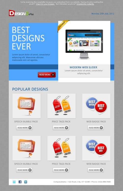 Sleek Email Template Design | Email template design, Template and ...