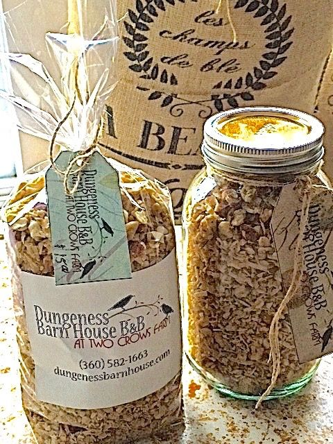 Dungeness Barn House B&B Granola  We make and package our granola.   3 kinds of organic oats, hazel nuts,cashews, coconut, sweetend with organic maple sryup. light and loose with a nutty roasted flavor.