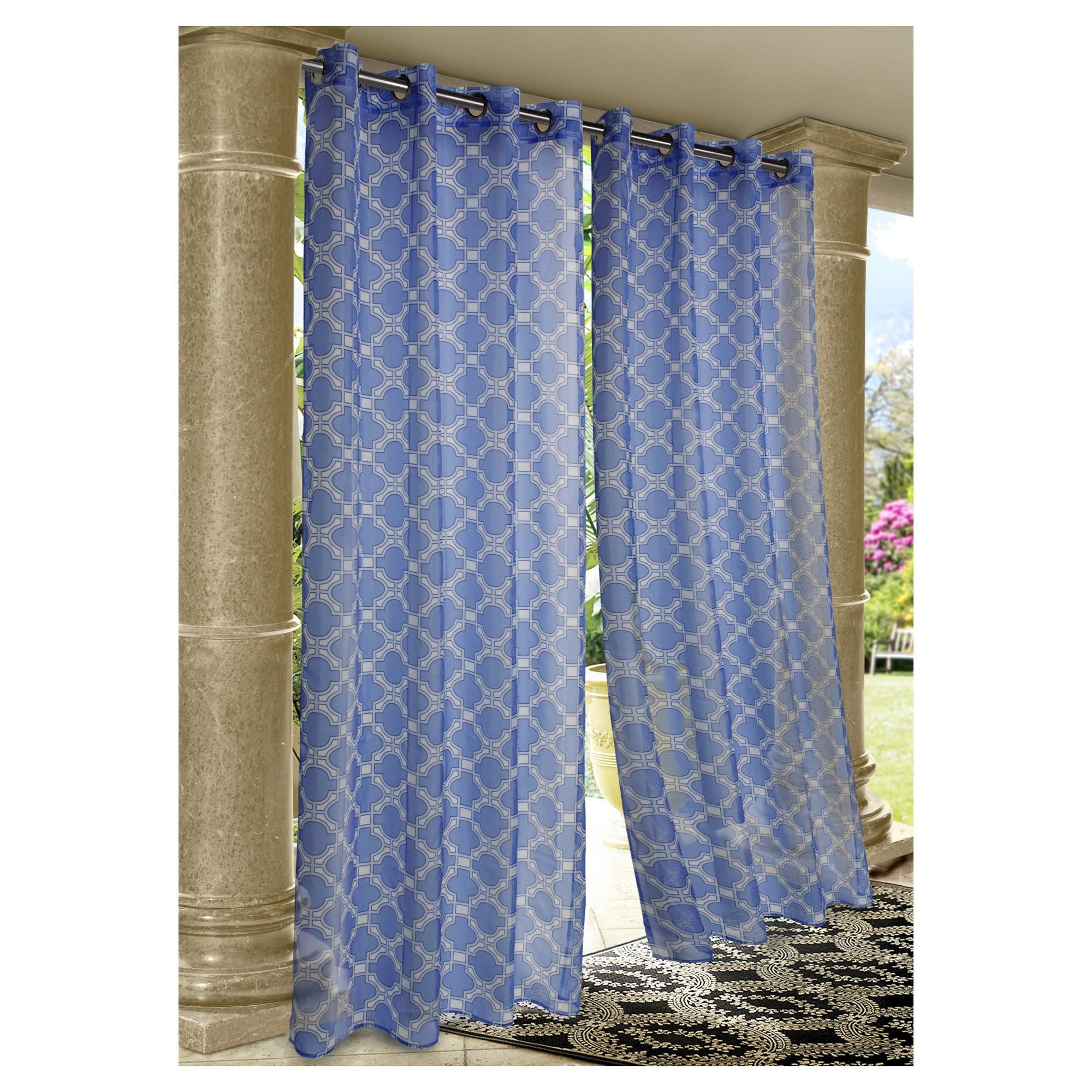 Outdoor Decor Wrought Iron Indoor Outdoor Sheer Curtain Panel Blue