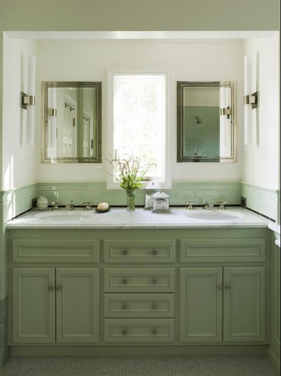 Green Cabinets Mediterranean Bathroom Coddington Design Green Bathroom Bathroom Vanity Double Vanity Bathroom