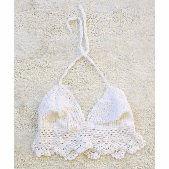 Crochet Top White crochet top. Fits like a size XS/S. Handmade. purchased on Etsy. Tops Crop Tops