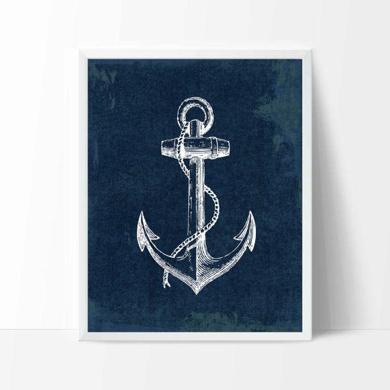 Nautical Anchor Art Print, Navy Nursery Decor, Nautical Art, Travel Poster, Beach House Decor, Nautical Home Decor P-014