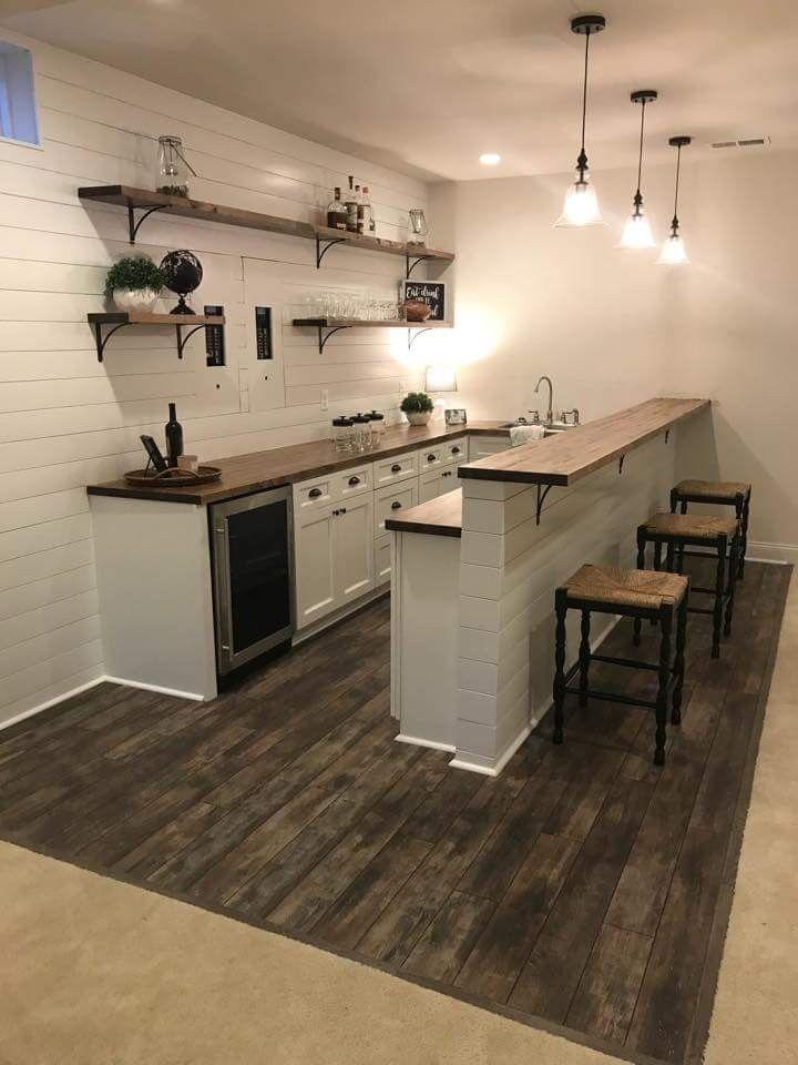 Shiplap Bar Basement In 2019 Basement Kitchenette