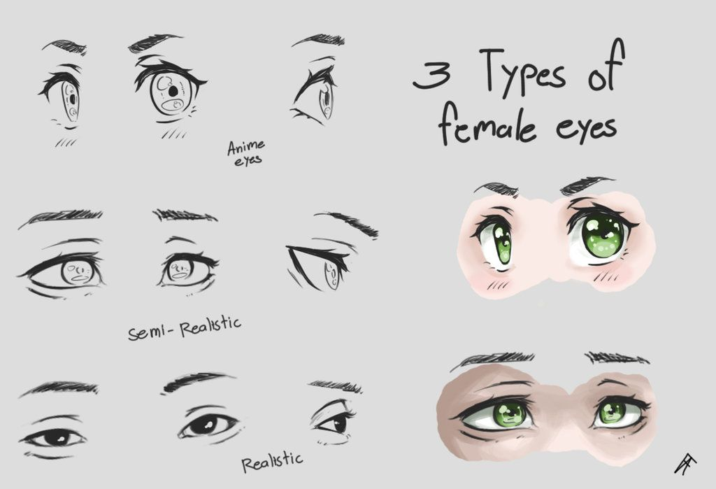 3 Types Of Female Eyes By Franceanton Female Eyes Nose Drawing How To Draw Ears