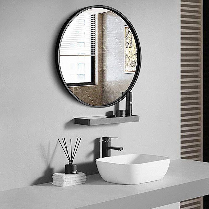 Amazon Com Tinytimes 27 56 Modern Metal Wall Mirror Black Framed Round Mirror Wall Mount Mirror Round Mirror Bathroom Wall Mounted Mirror Bathroom Mirror