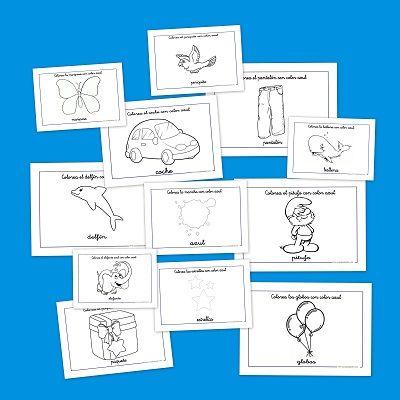 Fichas para colorear: Coloreamos animales y objetos azules | Dibujos ...