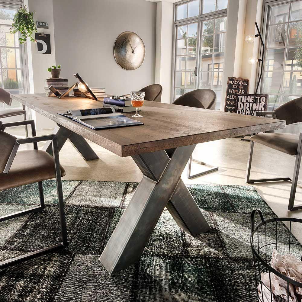 Loft Esstisch aus Asteiche Massivholz X-Fuß Stahl Jetzt bestellen ...