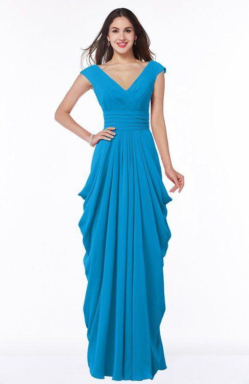 ColsBM Alice - Cornflower Blue Bridesmaid Dresses | Short sleeves ...