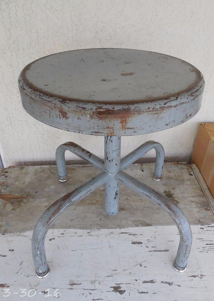 Vintage Industrial Adjuto Adjustable Metal Stool Steampunk Machine Age  #31604
