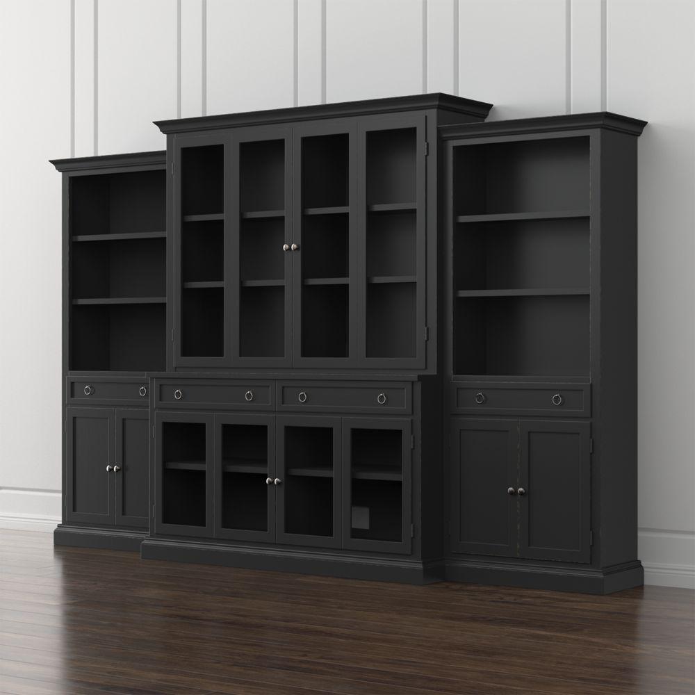 Cameo piece modular bruno black glass door wall unit black glass