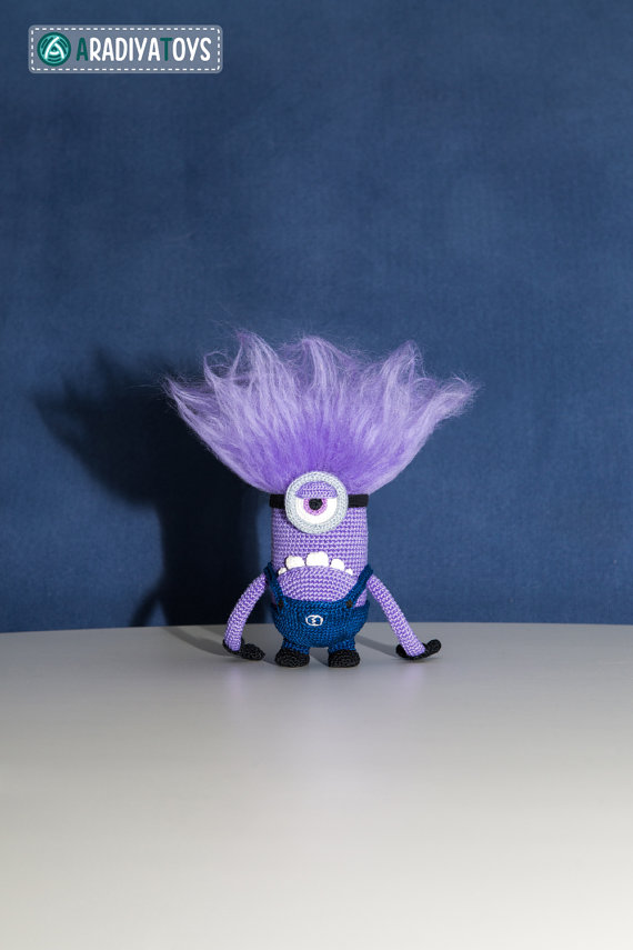 Crochet Pattern of purple monster with one eye (Amigurumi tutorial ...