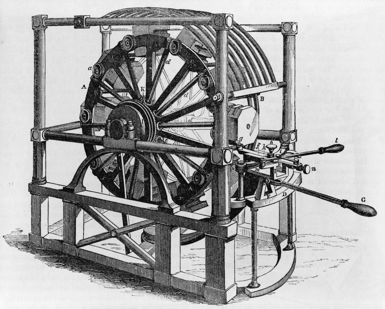 Block making machine that produced wooden blocks for block and tackle, primarily for the ship industry, 1854.