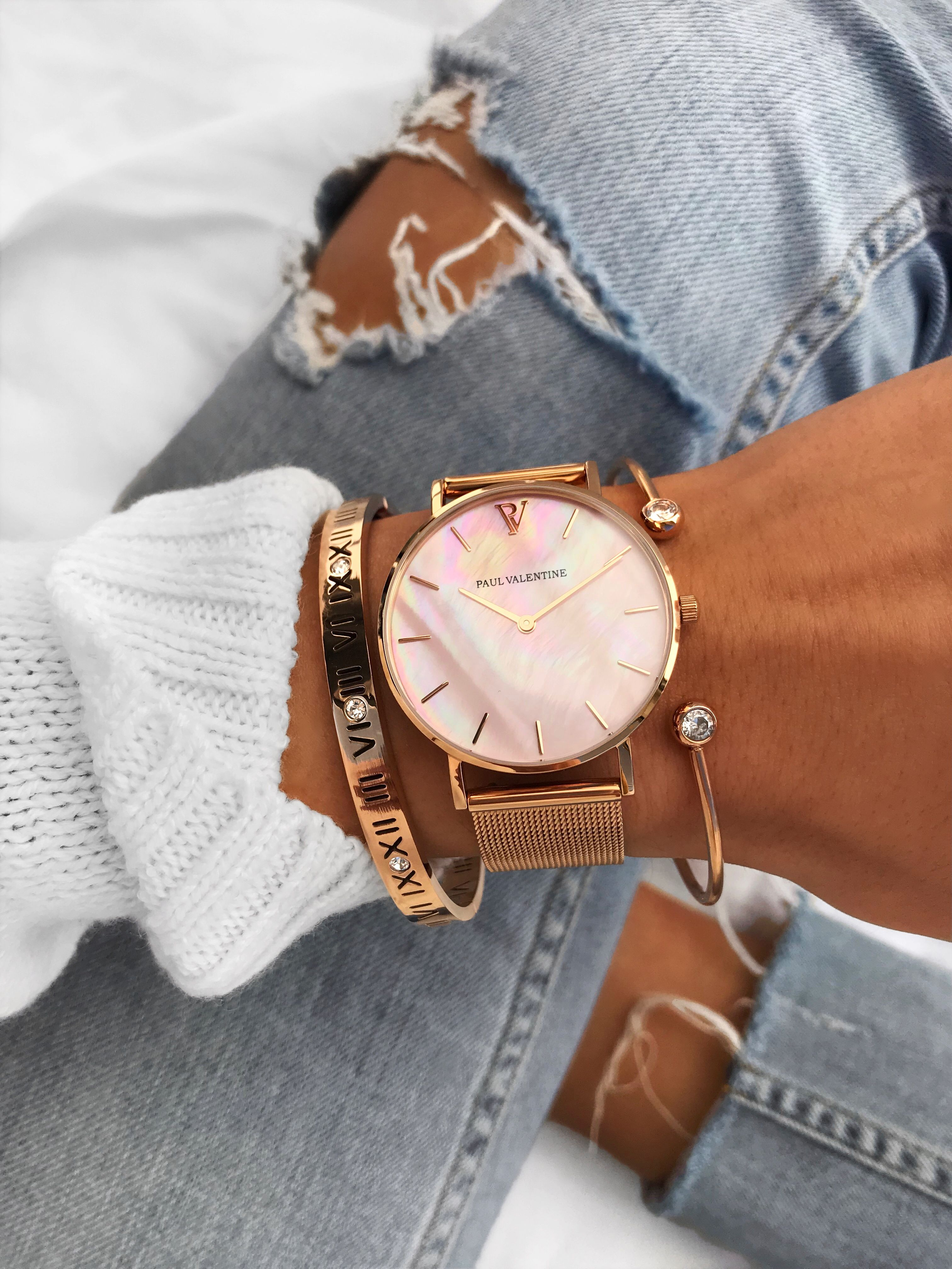 Pink Seashell Mesh Collection Dazzle Gold Watches Women