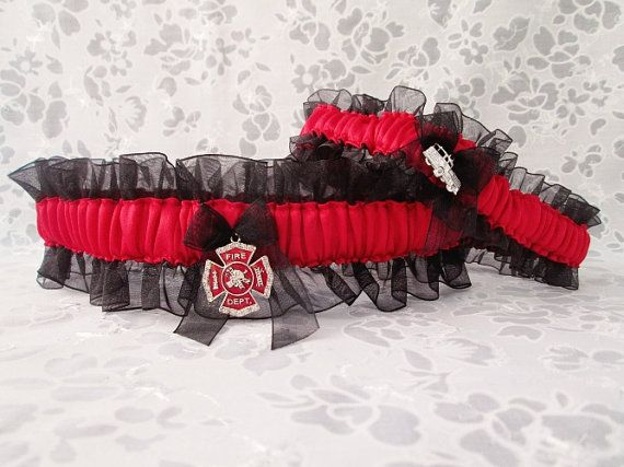 Handcrafted Firefighter Garter Set -  Maltese Cross Wedding Garters - Fire Fighter Wedding Garter set.