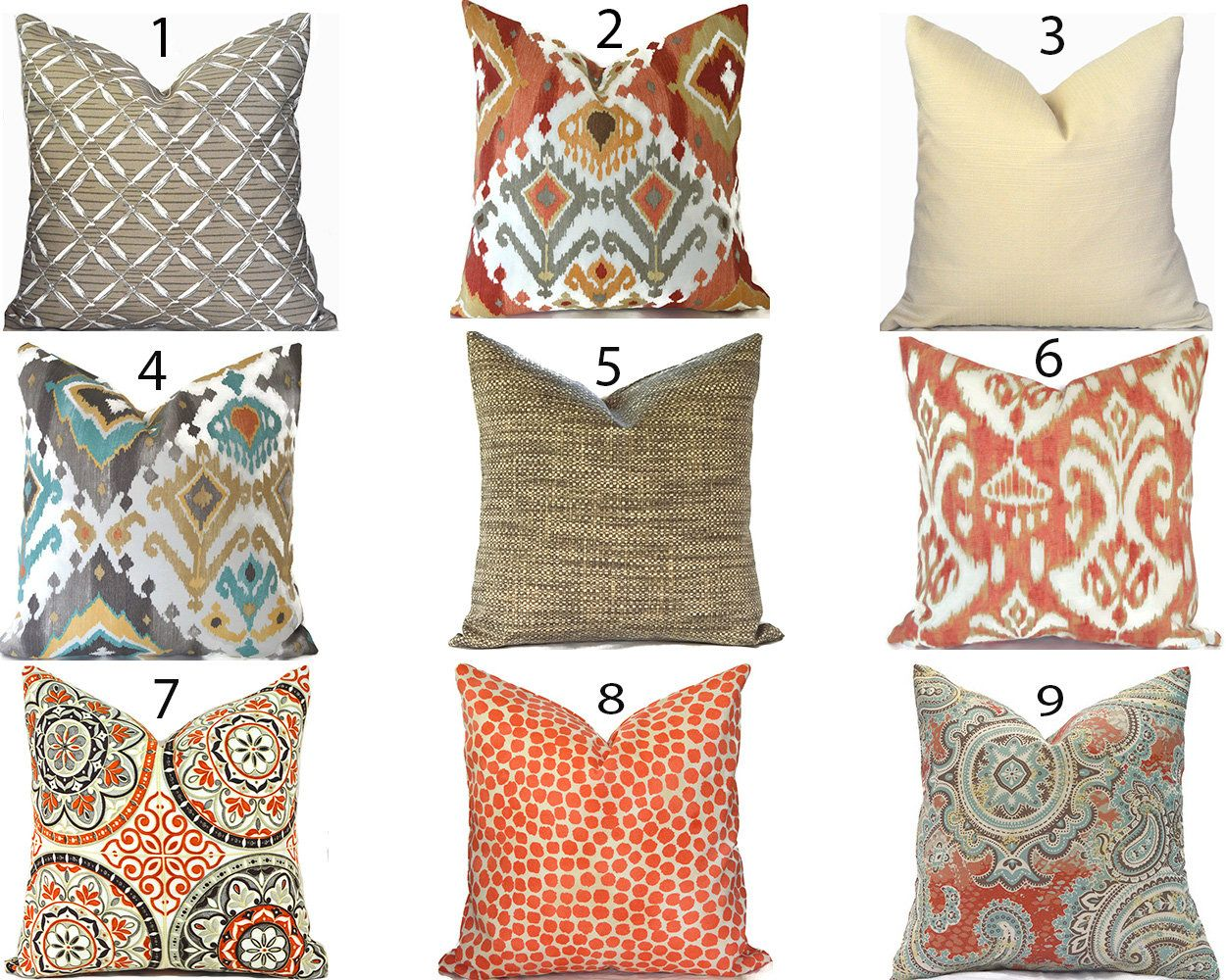 Outdoor Pillow Covers Any Size Decorative Home Decor Burnt Orange