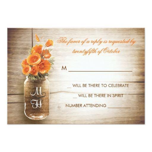 Mason jar and orange flowers wedding RSVP card Custom Announcements