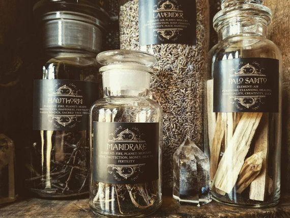 75 Printed Herb Labels for Witches Apothecary jars and bottles