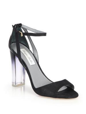 MONIQUE LHUILLIER Ava Lucite-Heel Metallic Suede & Patent Leather Sandals. #moniquelhuillier #shoes #sandals