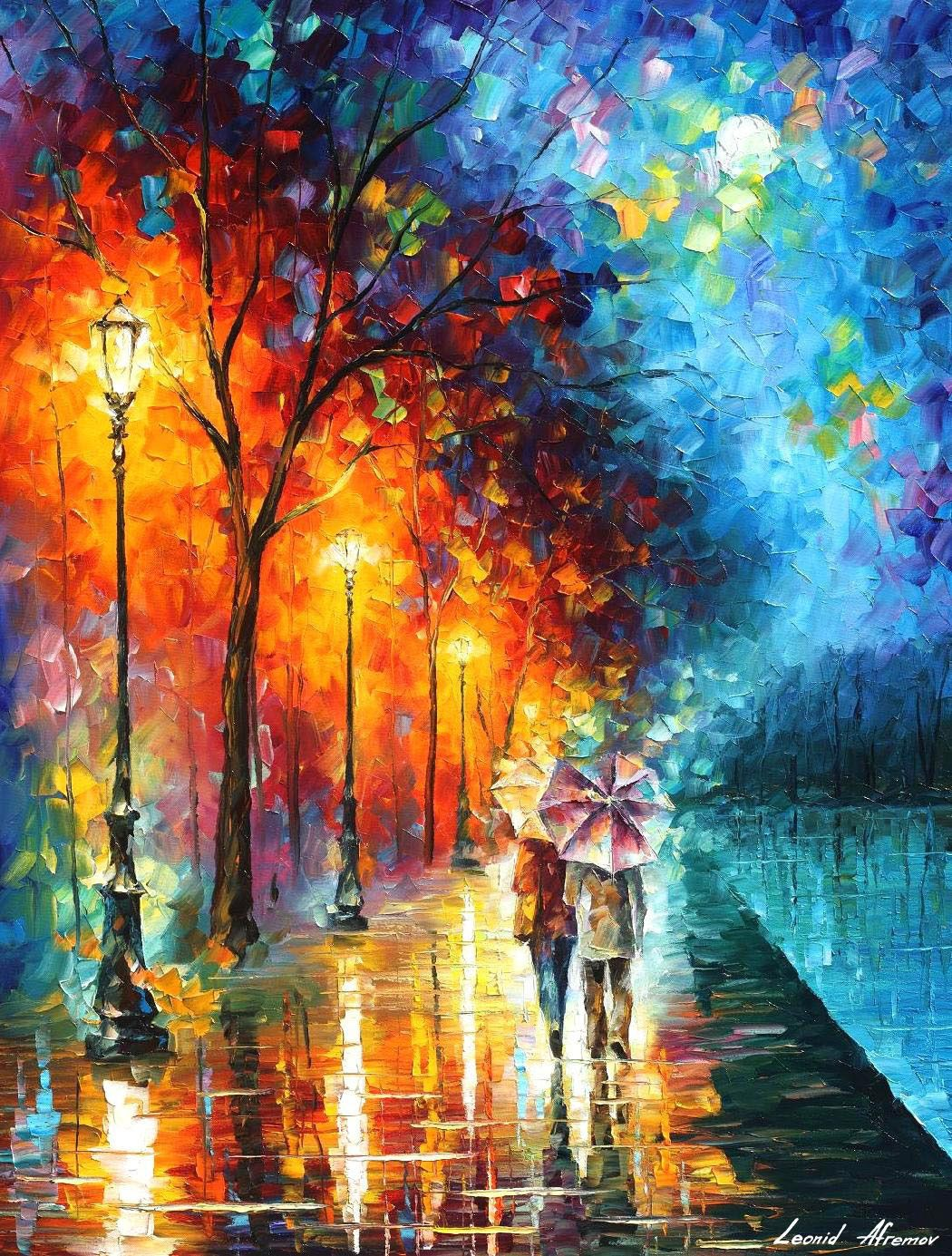 Alley By The Lake Palette Knife Oil Painting On Canvas By Leonid Afremov Oil Painting Landscape Beautiful Paintings Canvas Painting