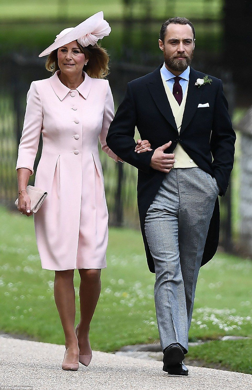 Mother dresses for sons wedding  Carole Middleton arrives at Pippaus wedding  Bright pink dresses