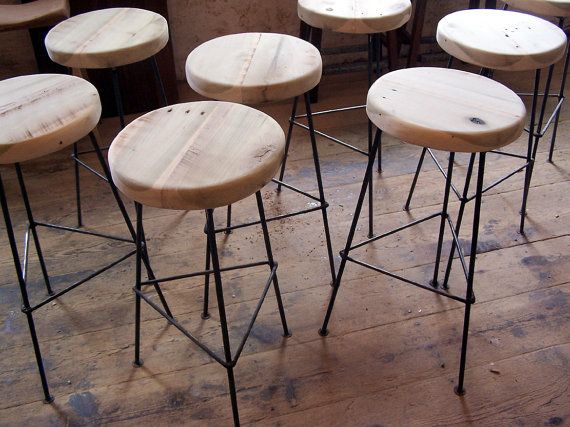 Reclaimed Wood Bar Stools With Metal Legs By