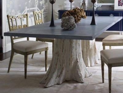 """Square Optionc  48"""" X 108"""" Zinc Top Distressed White Double Adorable Tree Trunk Dining Room Table Decorating Inspiration"""