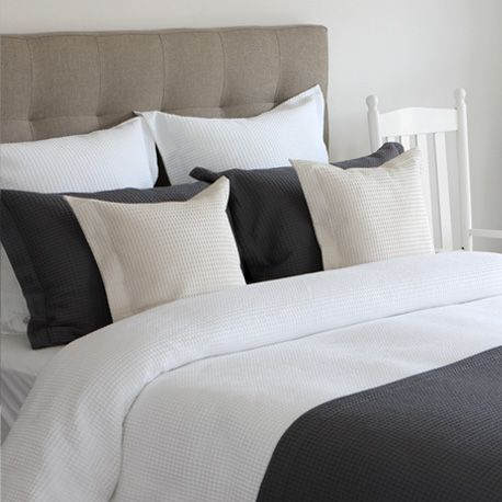 Waffle Weave 100 Cotton By Cuddle Down Canada Available In White Cream Slate And Marine Bed Linens Luxury Bed Duvet Covers