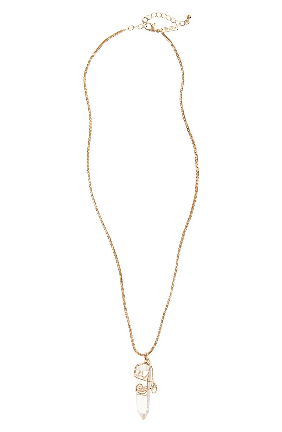 Topshop Wire Wrapped Crystal Pendant Necklace available at #Nordstrom