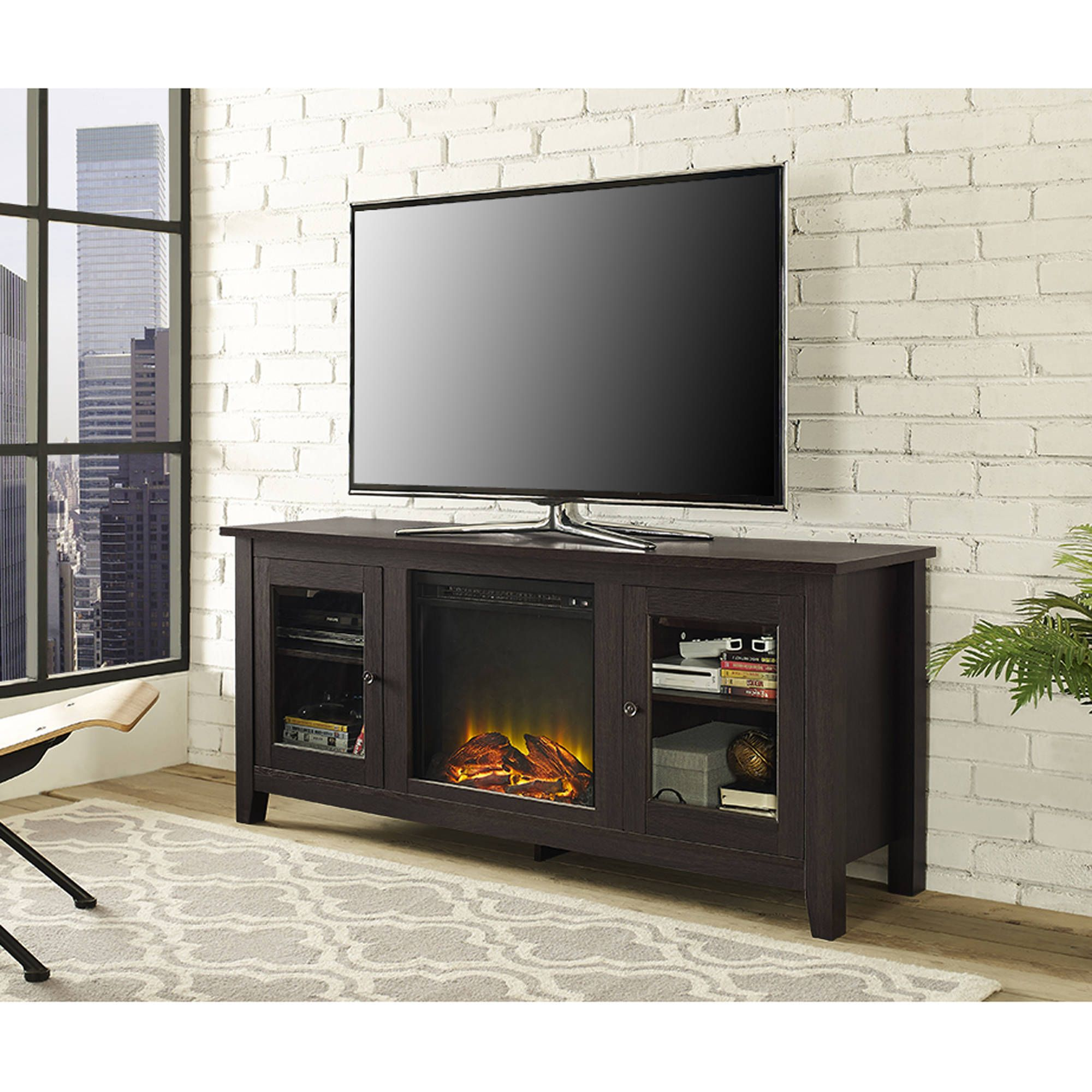 Wood Tv Stand With Fireplace For Tvs Up To 60 Multiple Finishes