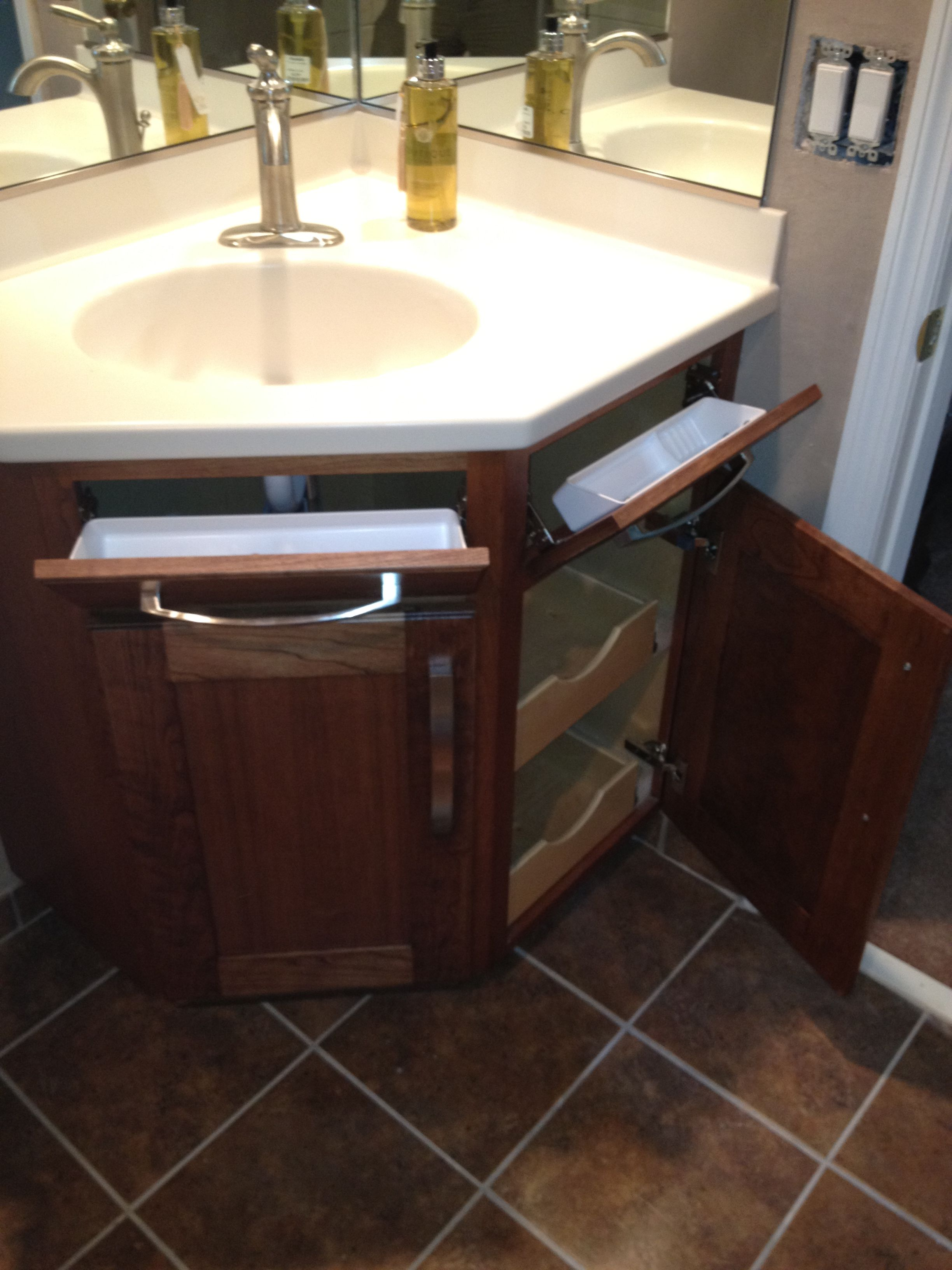 So Much Storage Space On This Stained Cherry Bathroom Vanity The