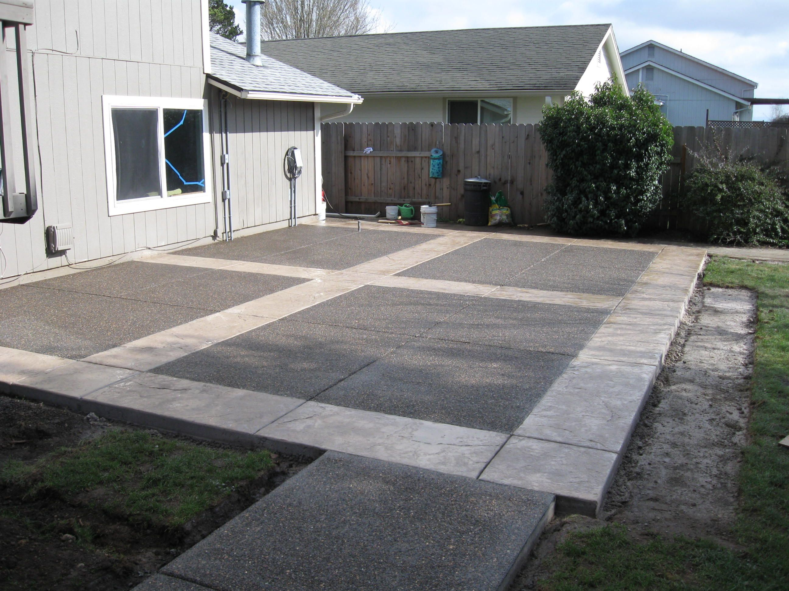 12 Some Of The Coolest Initiatives Of How To Makeover Backyard Landscape Ideas Concrete Backyard Stamped Concrete Patio Designs Concrete Patio Designs