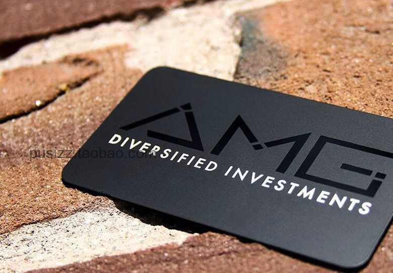 high end custom matte black metal business card round corners