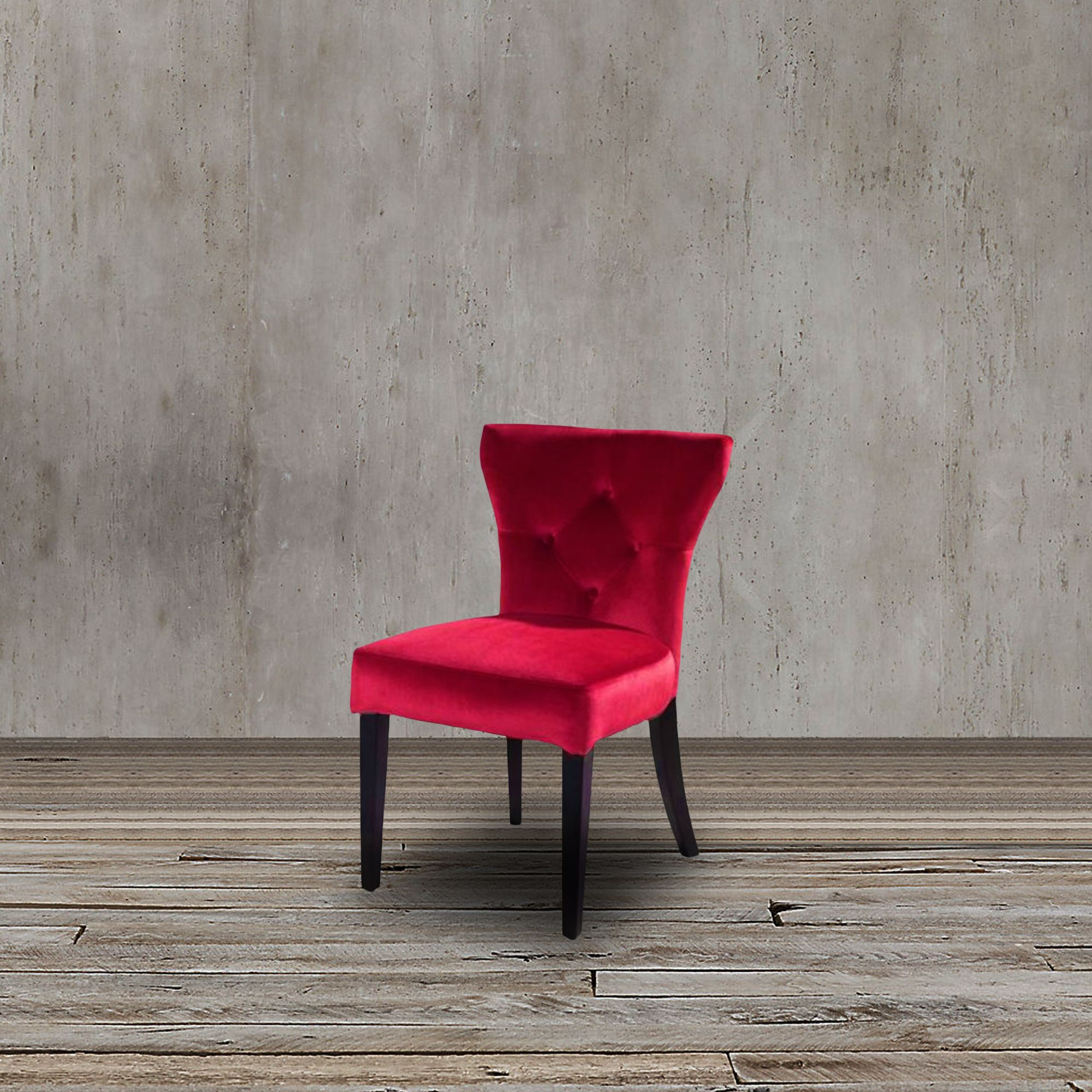This stylish dining chair features rich red velvet upholstery thick foam padding and contemporary appeal that will surely make your dining room a modern