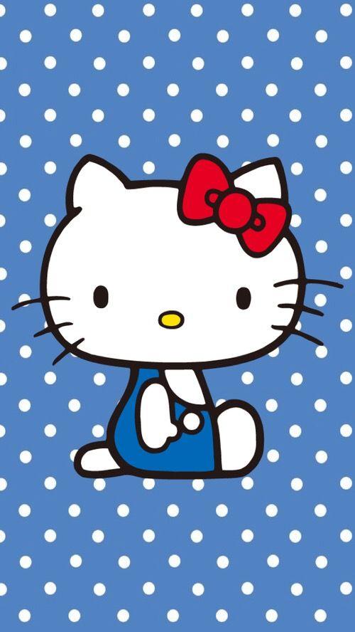 Hello Kitty Blue Polka Frame Hello Kitty Hello Kitty Wallpaper