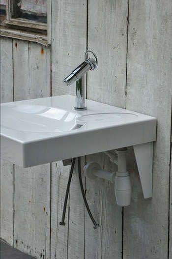 lavabo gain de place conu pour se placer au dessus dune machine laver spcial petite salle de bains siphon dcal dans le coin - Salle De Bain Lavabo Lave Linge