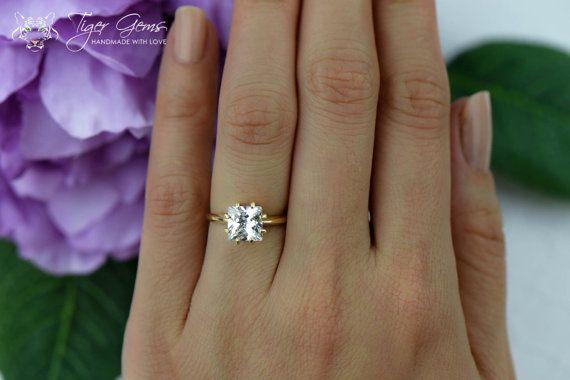 Sale 2 ct 14k Yellow Gold Ring Princess Ring by TigerGemstones