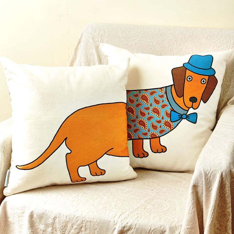 Cotton cushion featuring Mary's Kilvert's colourful illustration of Larry the Long Dog. Larry goes all the way round the cushion making a perfect pair for your sofa!