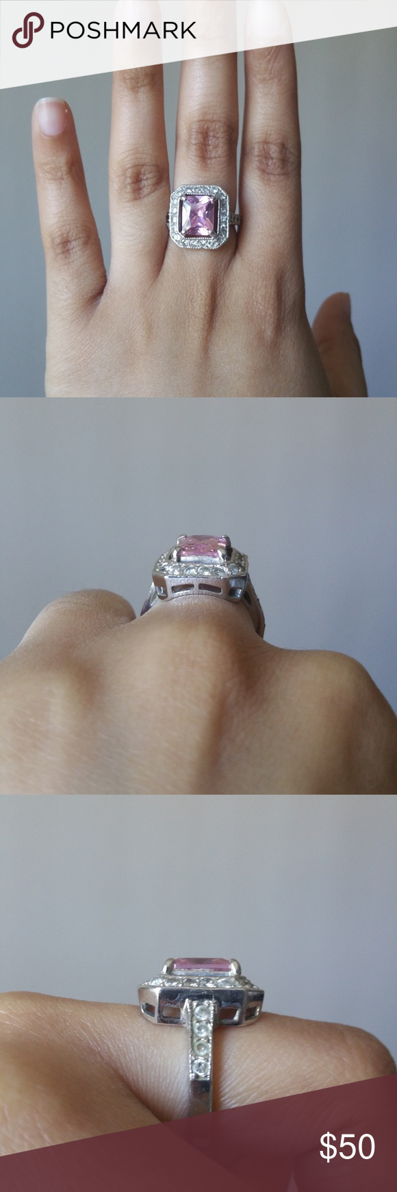 Silver Ring With Pink Stone Size 7 5