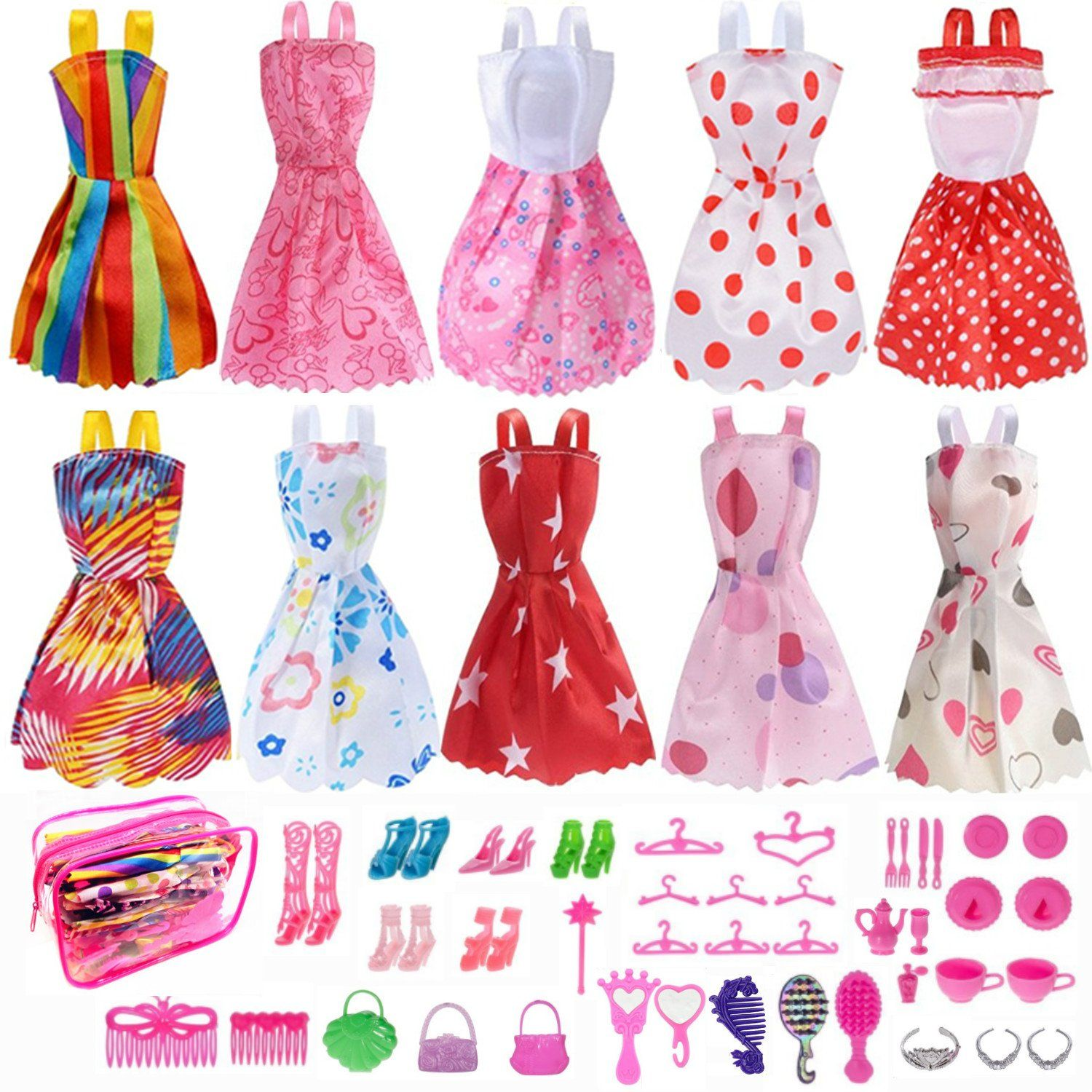Set Barbie Doll Clothes Party Gown Outfits Shoes Accessories Dolls Girls NEW
