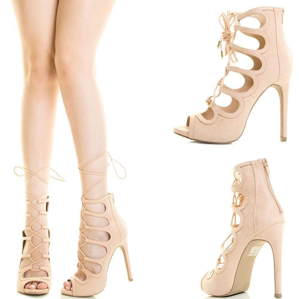 8b723ba29976da Nude Peep Toe Strappy Lace Up Cage Cutout Stiletto Heel Gladiator Pump  Sandal Us