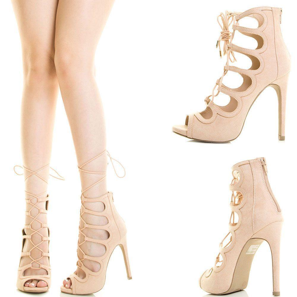 8b723ba29976da Nude Peep Toe Strappy Lace Up Cage Cutout Stiletto Heel Gladiator Pump  Sandal Us