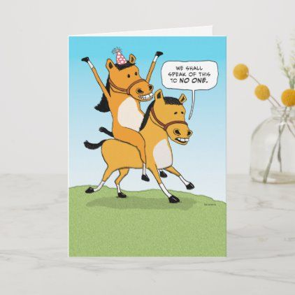 Cute And Funny Horse Riding Horse Birthday Card Zazzle Com Funny Horse Horse Birthday Horse Cartoon