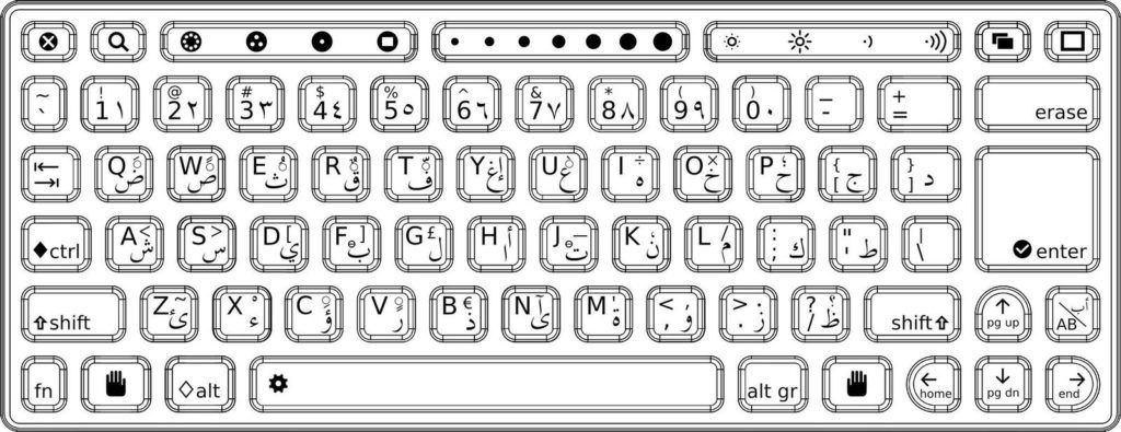 printable computer keyboard completely arabic coloring
