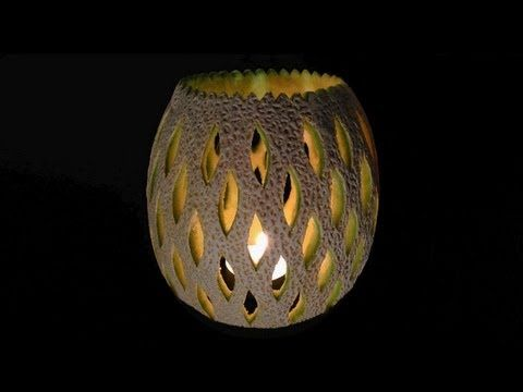 Simple Candle Lamp Cantaloupe Melon - Intermediate 8 by Mutita Art of Fruit & Vegetable Carving - YouTube